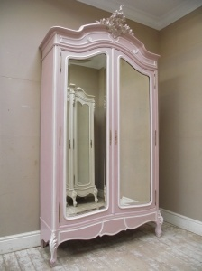 SUPERB FRENCH ANTIQUE ROCOCO STYLE PAINTED ARMOIR