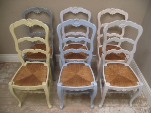 Bright vintage Provencal French dining chairs
